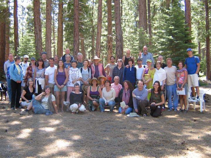 Photo of trainees at Return to the Sacred Breathwork intensive with Leonard Orr, 2010 at Sierra Hot springs